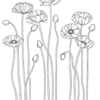 Pleasant Poppies Wood-Mount Stamp Set