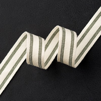 "Mossy Meadow 5/8"" Striped Cotton Ribbon"