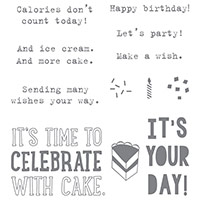 Party With Cake Wood-Mount Stamp Set