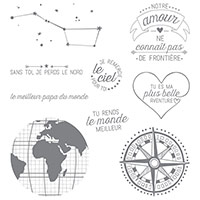 Jusqu'Au Bout Du Monde Clear-Mount Stamp Set (French)