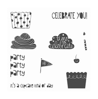 Cupcake Party Wood-Mount Stamp Set