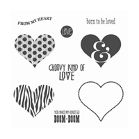 Groovy Love Wood-Mount Stamp Set