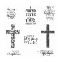 Blessed By God Wood-Mount Stamp Set