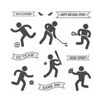 Simply Sports Wood-Mount Stamp Set