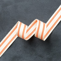 "Tangelo Twist 5/8"" Striped Cotton Ribbon"