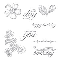 Birthday Blossoms Wood-Mount Stamp Set