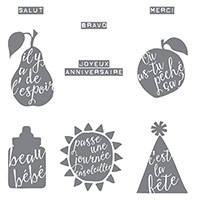 Silhouettes En Script Clear-Mount Stamp Set (French)