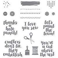 Love You Sew Wood-Mount Stamp Set