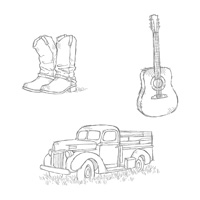 Country Livin' Wood-Mount Stamp Set