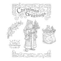 Father Christmas Wood-Mount Stamp Set